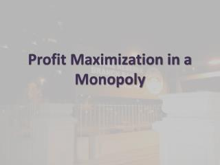 Profit Maximization in a Monopoly
