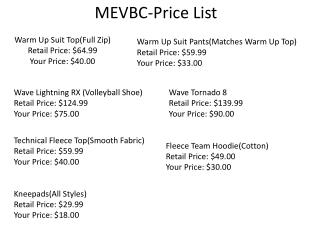 MEVBC-Price List