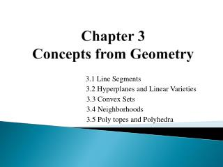 Chapter  3 Concepts from Geometry