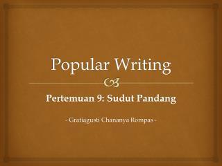 Popular Writing