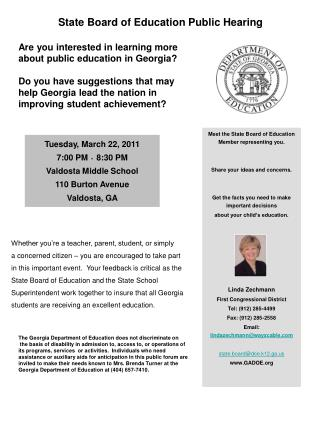 State Board of Education Public Hearing