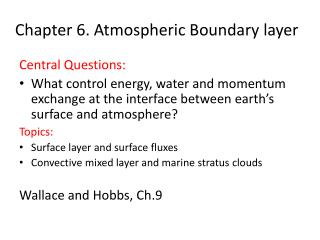 Chapter 6. Atmospheric Boundary layer