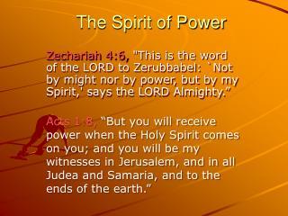The Spirit of Power