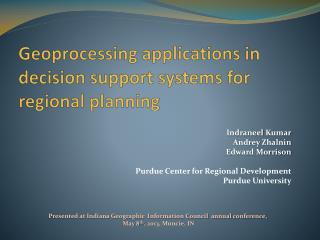 Geoprocessing applications in decision support systems for regional planning