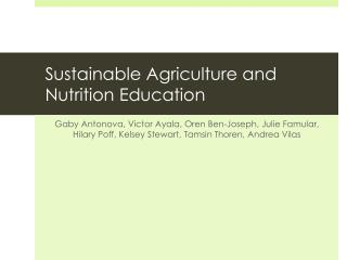 Sustainable  Agriculture and Nutrition Education