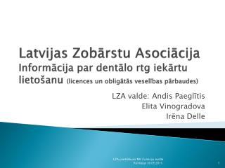 LZA valde: Andis Paeglītis Elita Vinogradova Irēna Delle