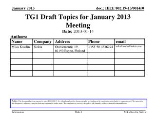 TG1 Draft Topics for  January 2013  Meeting