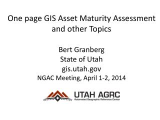 One page GIS Asset Maturity Assessment