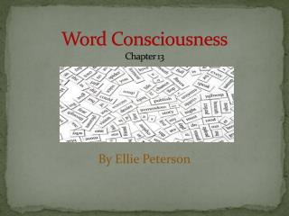 Word Consciousness Chapter 13