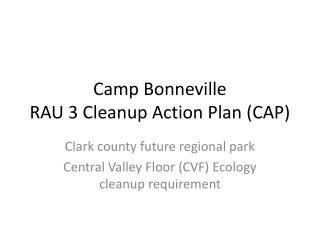 Camp Bonneville RAU 3 Cleanup Action Plan (CAP)