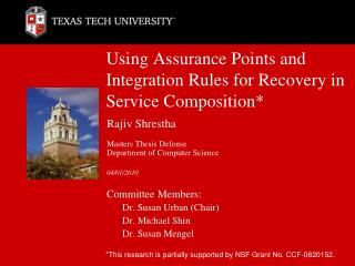 Using Assurance Points and Integration Rules for Recovery in Service Composition*