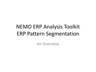 NEMO ERP Analysis Toolkit ERP Pattern Segmentation