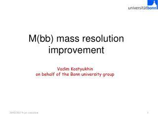 M(bb) mass resolution improvement