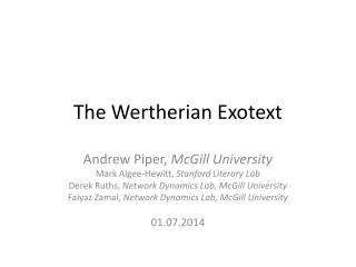 The  Wertherian Exotext