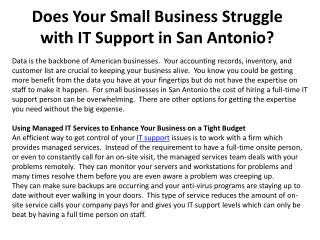 Does Your Small Business Struggle with IT Support in San Ant