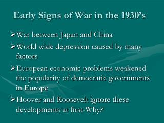 Early Signs of War in the 1930's
