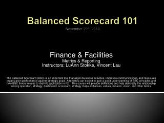 Balanced Scorecard 101 November 29th, 2010