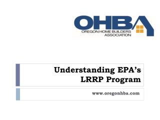 Understanding EPA's LRRP Program