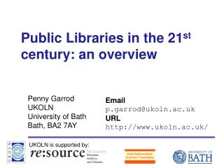 Public Libraries in the 21st century: an overview