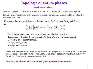 Topologic quantum phases