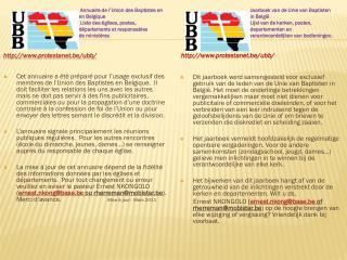 Annuaire de l'Union des Baptistes en