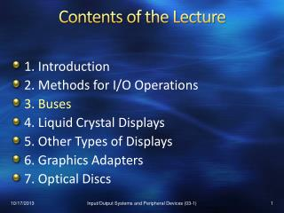 Contents of the Lecture