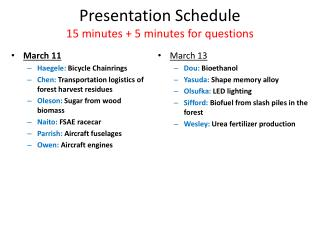 Presentation Schedule 15  minutes +  5  minutes for  questions