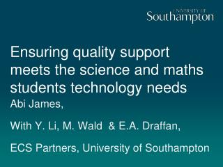 Ensuring quality support meets the science and maths students technology needs