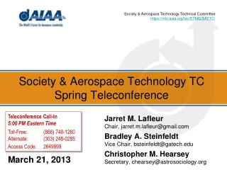 Society & Aerospace Technology TC Spring Teleconference