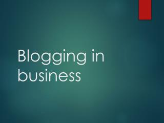 Blogging in business