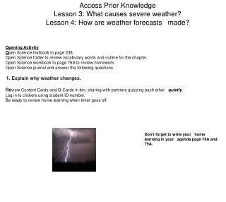 Access Prior Knowledge Lesson 3: What causes severe weather?