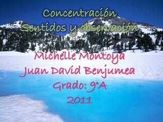 Concentración Sentidos y observación Michelle Montoya Juan David Benjumea Grado: 9°A 2011