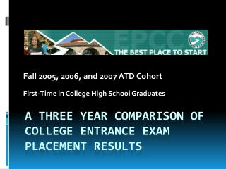 A THREE YEAR COMPARISON OF COLLEGE ENTRANCE EXAM Placement results