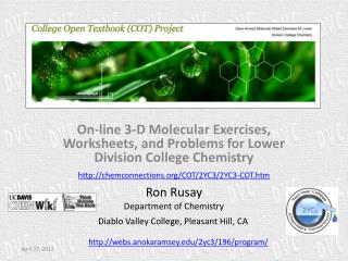 On-line 3-D Molecular Exercises, Worksheets, and Problems for Lower Division College Chemistry