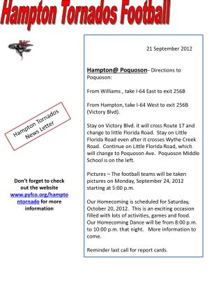 21 September 2012 Hampton@ Poquoson –  Directions to Poquoson: