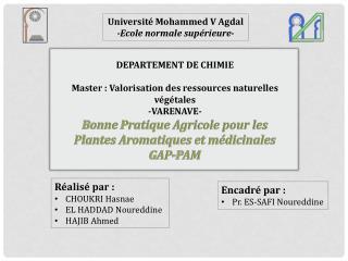 Université Mohammed V Agdal -Ecole normale supérieure -