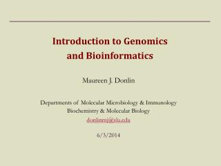 Introduction to Genomics  and Bioinformatics
