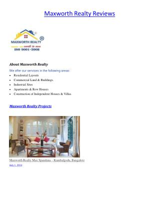Maxworth Realty India Limited Reviews