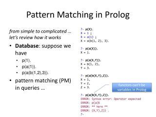 Pattern Matching in Prolog