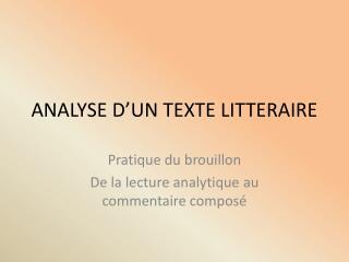 ANALYSE D'UN TEXTE LITTERAIRE