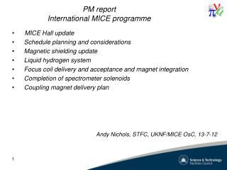 PM report International MICE programme