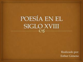 POESÍA EN EL SIGLO XVIII