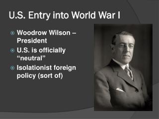U.S. Entry into World War I