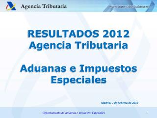 RESULTADOS 2012  Agencia Tributaria Aduanas  e  Impuestos Especiales