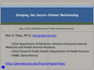 Studying the Doctor-Patient Relationship