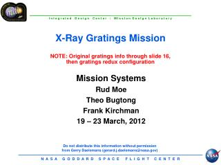 Mission Systems Rud  Moe Theo  Bugtong Frank  Kirchman 19 – 23 March, 2012