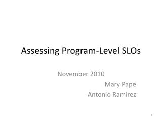 Assessing Program-Level SLOs