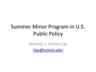 Summer Minor Program in U.S. Public Policy