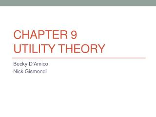 Chapter 9 Utility Theory