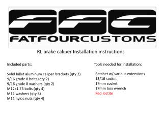 RL brake caliper Installation instructions
